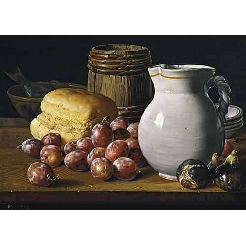 Tableau -Nature morte aux prunes, figues, pain, cruche et autres-