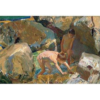 - Tableau - Enfants à la recherche de crustacés - - Sorolla, Joaquin