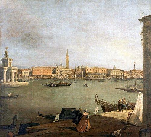 tableaux-de-paysages - Tableau -Dársena de San Marcos desde la Giudeca- - Canaletto, Giovanni A. Canal
