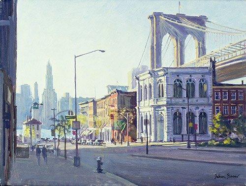 tableaux-modernes - Tableau -Brooklyn Bridge, New York (oil on canvas)- - Barrow, Julian