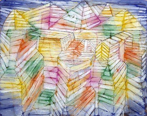 tableaux-abstraits - Tableau - Théâtre, Montagne, Construction - - Klee, Paul