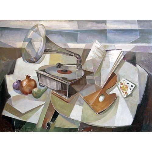 Tableau -Abstrait, nature morte au gramophone-