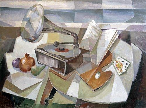 tableaux-abstraits - Tableau -Abstrait, nature morte au gramophone- - Sanchez, Fernando