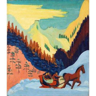 - Tableau -Promenade en traîneau dans la neige- - Kirchner, Ernst Ludwig