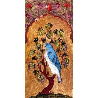 Tableaux orientales - Tableau -Halcón azul sobre una rama- - _Anónimo Persa