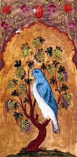 tableaux-orientales - Tableau -Halcón azul sobre una rama- - _Anónimo Persa