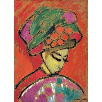 Tableaux de Personnages - Tableau -Jeune fille au chapeau fleuri, 1910- - Jawlensky, Alexej von