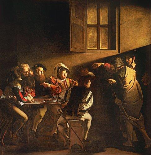tableaux-religieuses - Tableau -La Vocation de saint Matthieu- Caravage - Caravaggio, Michelangelo M.