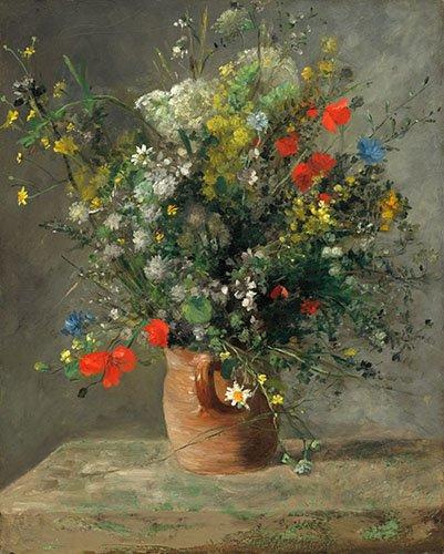 tableaux-de-fleurs - Tableau - Fleurs dans un vase, 1866 - - Renoir, Pierre Auguste
