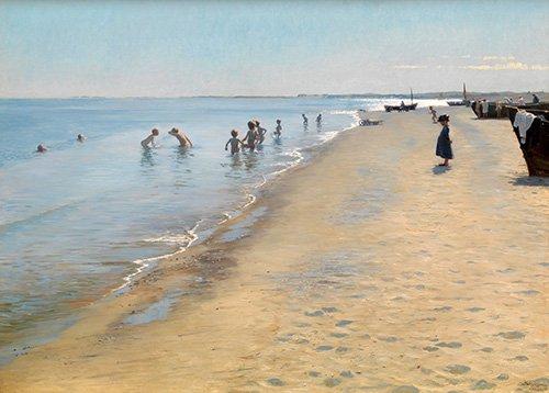 tableaux-de-paysages-marins - Tableau -Journée d'été à la plage sud de Skagen- - Kroyer, Peder Severin