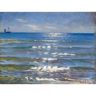 - Tableau -Soleil de l'après-midi et vue sur la mer- - Kroyer, Peder Severin