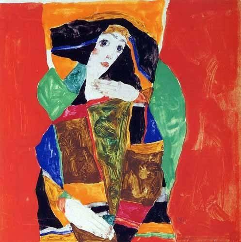 tableaux-de-personnages - Tableau -Portrait Of Valerie Neuzil- - Schiele, Egon