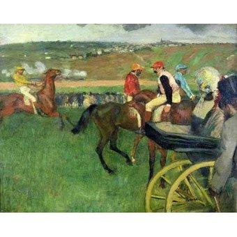 Tableaux de faune - Tableau - l'Hippodrome Jockeys près d'un transport- - Degas, Edgar