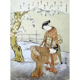 Tableaux orientales - Tableau -Mujer y su doncella- - Harunobu, Suzuki