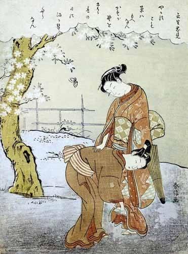 tableaux-orientales - Tableau -Mujer y su doncella- - Harunobu, Suzuki