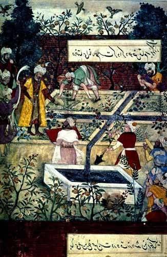 tableaux-orientales - Tableau -Memorias de Babur, Emperador con su proyecto- - Mughal