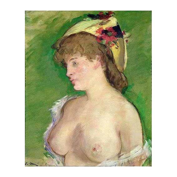 pinturas do retrato - Quadro -The Blonde with Bare Breasts-