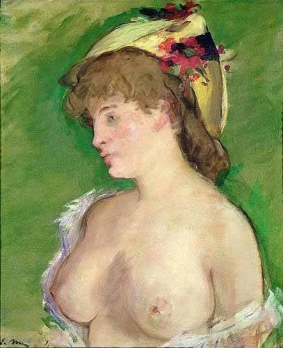 tableaux-de-personnages - Tableau -La blonde aux seins nus- - Manet, Eduard