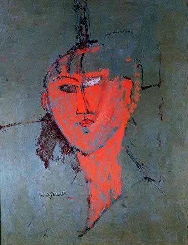 tableaux-de-personnages - Tableau -La tête rouge- - Modigliani, Amedeo