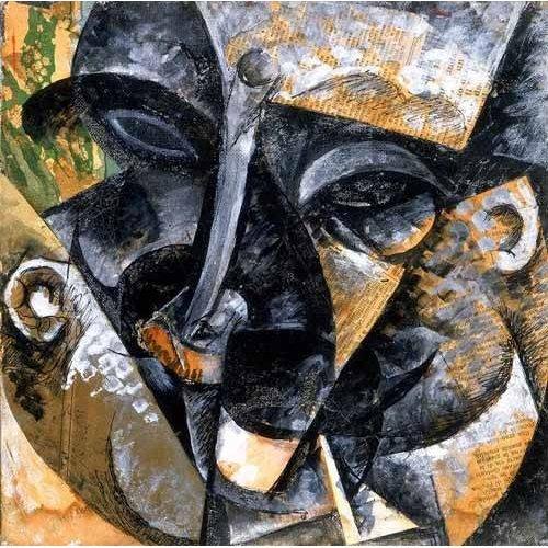Tableau -Composition avec une tête d'homme-
