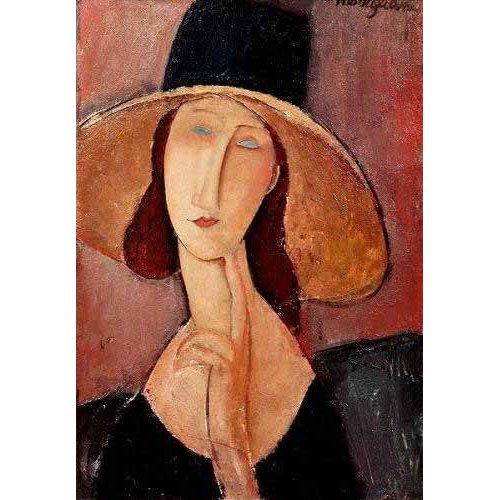 pinturas do retrato - Quadro -Retrato de Jeanne Hebuterne con pamela-
