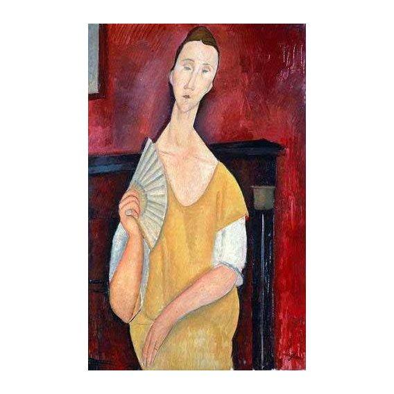 pinturas do retrato - Quadro -Mujer con abanico-
