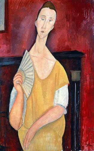 tableaux-de-personnages - Tableau -Mujer con abanico- - Modigliani, Amedeo