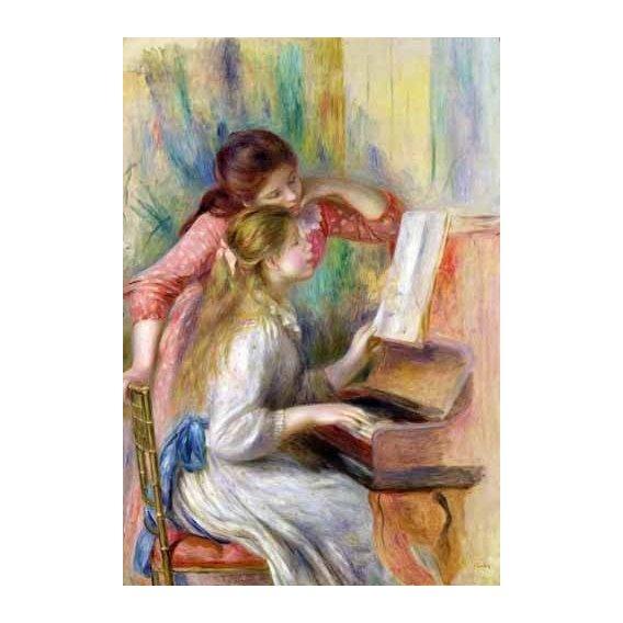 pinturas do retrato - Quadro -Jovencitas al piano-