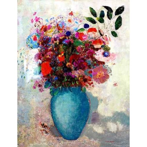 imagens de flores - Quadro -El jarrón turquesa-