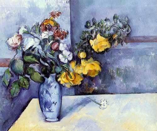 tableaux-de-fleurs - Tableau -Fleurs dans un vase- - Cezanne, Paul