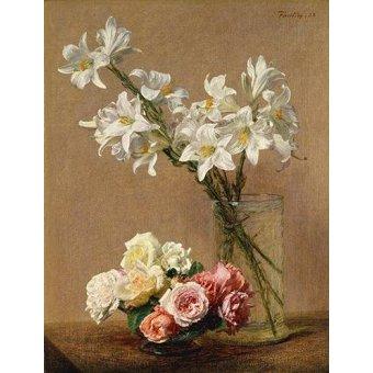 Tableaux de Fleurs - Tableau -Rosas y Lilas- - Fantin Latour, Henri