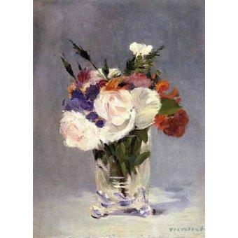 Tableaux de Fleurs - Tableau -Fleurs dans un vase en verre- - Manet, Eduard