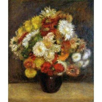 Tableaux de Fleurs - Tableau -Bouquet de chrysanthèmes- - Renoir, Pierre Auguste
