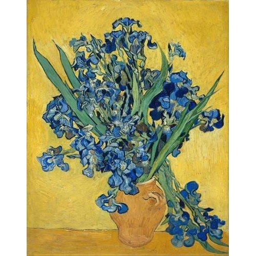 Tableau -Vase aux iris sur fond jaune-