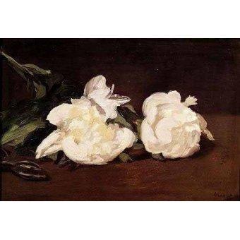 Tableaux de Fleurs - Tableau -Branche de pivoines blanches et élagueur- - Manet, Eduard