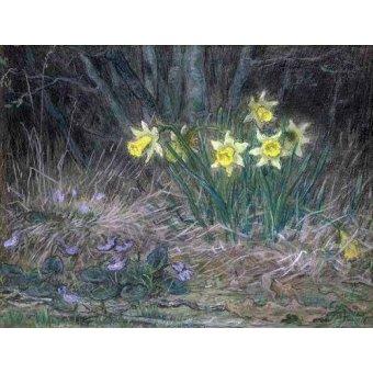 Tableaux de Fleurs - Tableau -Narcisses et violettes- - Millet, Jean François