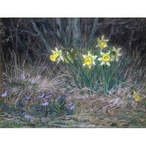 imagens de flores - Quadro -Narcisos y Violetas-