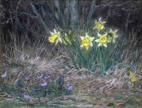 tableaux-de-fleurs - Tableau -Narcisses et violettes- - Millet, Jean François
