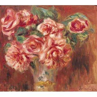 Tableaux de Fleurs - Tableau -Roses dans un vase- - Renoir, Pierre Auguste