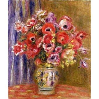 Tableaux de Fleurs - Tableau -Vase de tulipes et d'anémones- - Renoir, Pierre Auguste