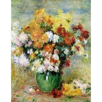 Tableaux de Fleurs - Tableau -Bouquet chrysanthèmes- - Renoir, Pierre Auguste