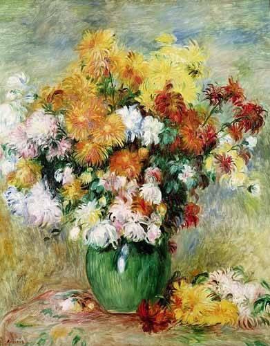 tableaux-de-fleurs - Tableau -Bouquet chrysanthèmes- - Renoir, Pierre Auguste