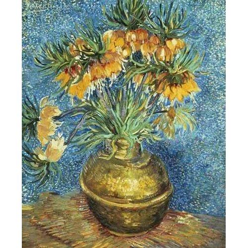 Tableau -Fritillaires, couronne impériale dans un vase de cuivre-