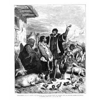 Tableaux cartes du monde, dessins - Tableau -El Quijote 1-44- - Doré, Gustave