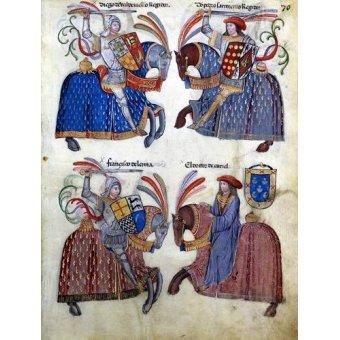 Tableaux cartes du monde, dessins - Tableau -Libro de los caballeros de Santiago-2- - _Anónimo Español