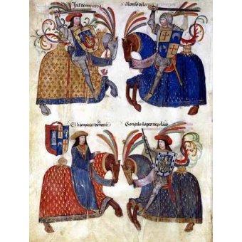 Tableaux cartes du monde, dessins - Tableau -Libro de los caballeros de Santiago-3- - _Anónimo Español