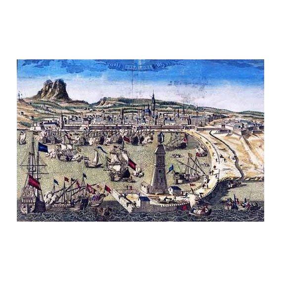 imagens de mapas, gravuras e aquarelas - Quadro -Barcelona, vista de la ciudad y el puerto- Mapas