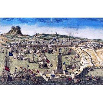 Tableaux cartes du monde, dessins - Tableau -Barcelona, vista de la ciudad y el puerto- Mapas - Anciennes cartes