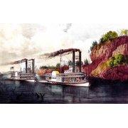 Tableau -Carrera de barcos de vapor en el Mississipi-