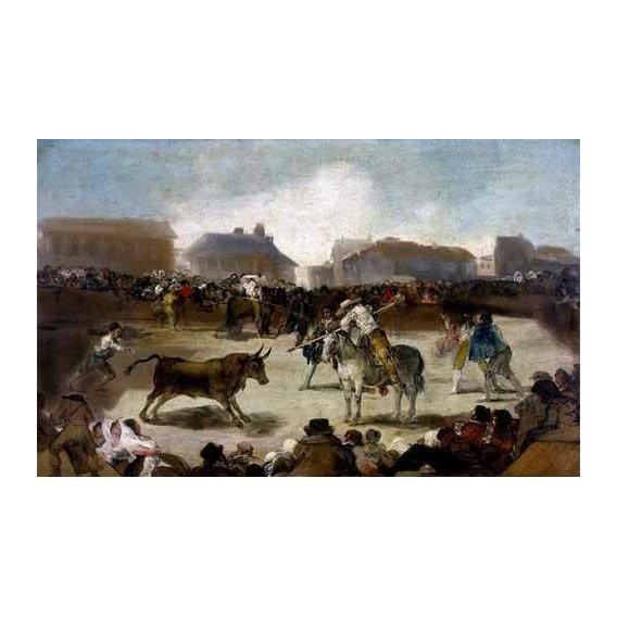 imagens de mapas, gravuras e aquarelas - Quadro -Toros en un pueblo-